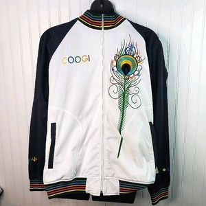 COOGI White Embroidered Peacock Track Jacket XXL